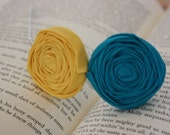 Double Rosette Headband - Turquoise Yellow