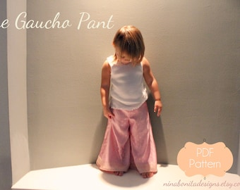 The Gaucho Pant, PDF Sewing Pattern, Sizes Newborn to Toddlers to Girls 14, Beginner Ebook Tutorial (Instant Download)