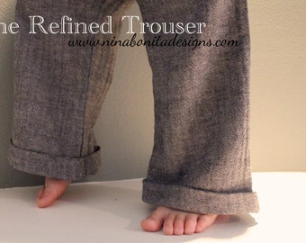 The Refined Trouser, PDF Sewing Pattern, Boy and Girl Sizes Newborn to Toddler to Children 14, Instant Download Tutorial