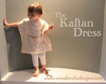 The Kaftan Dress, PDF Sewing Pattern, Sizes Newborn to Toddler to Girls 14, Instant Download Tutorial for Beginners