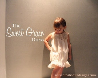 The Sweet Grace Dress, PDF Sewing Pattern, Sizes Newborn to Toddlers to Girls 14, Instant Download Tutorial