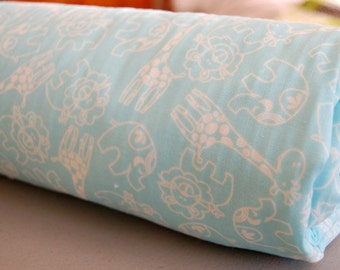 Baby Blanket - Toddler Blanket - Blue Zoo Animals Blanket for baby boy - blue baby blanket