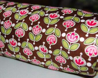 Baby Blanket - Toddler Blanket - Brown Pink Flower Baby Girl Blanket - floral baby blanket
