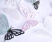 3D paper butterfly with cutouts, wall sticker, room decor, baby nursery, in black white and lilac 20 pieces