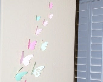 20 pieces 3D paper butterfly sticker - shaded pink and green