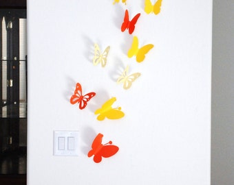 3D paper butterfly sticker - shaded yellow and orange 20 pieces