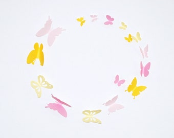 3D paper butterfly sticker - shaded yellow and shaded pink, 20pieces