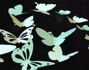 20 pieces 3D paper butterfly sticker, wall sticker, room decoration, baby nursery, wedding decoration in shaded ligt green color