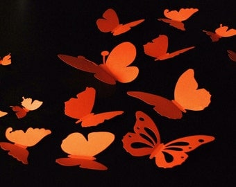 20 pieces 3D paper butterfly sticker, wall sticker, room decoration, baby nursery, wedding decoration in orange