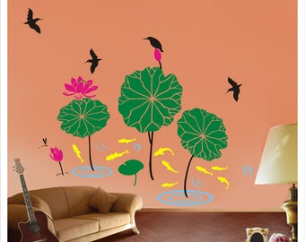 Lotus pond children room wall decal overstock sale