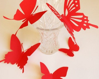 3D butterfly wall art, wall sticker, room decoration, baby nursery, wedding decoration in uniform red color 20 pieces
