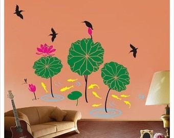 Children room vinyl wall decal - Lotus pond