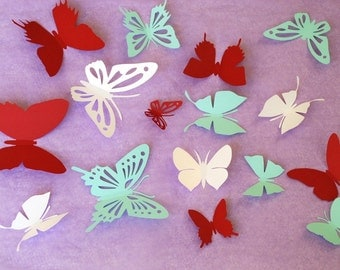 3D paper butterfly wall sticker, room decoration, baby nursery, cardstock, wedding decoration in white, burgundy, and teal 16 piece