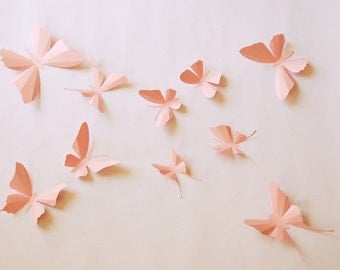 3D paper butterfly sticker, wall sticker, baby nursery, room decoration, wedding decoration in pinks 10 pieces