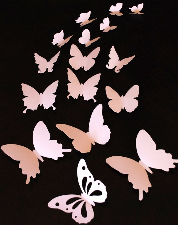 3D paper butterfly sticker, wall sticker, room decoration, baby nursery, wedding decoration in pale pink color 20 pieces