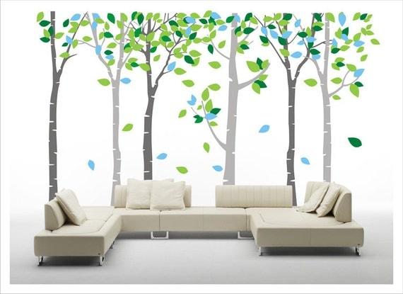 Tree decal, tree wall decal - Dream birch tree forest 6 trees