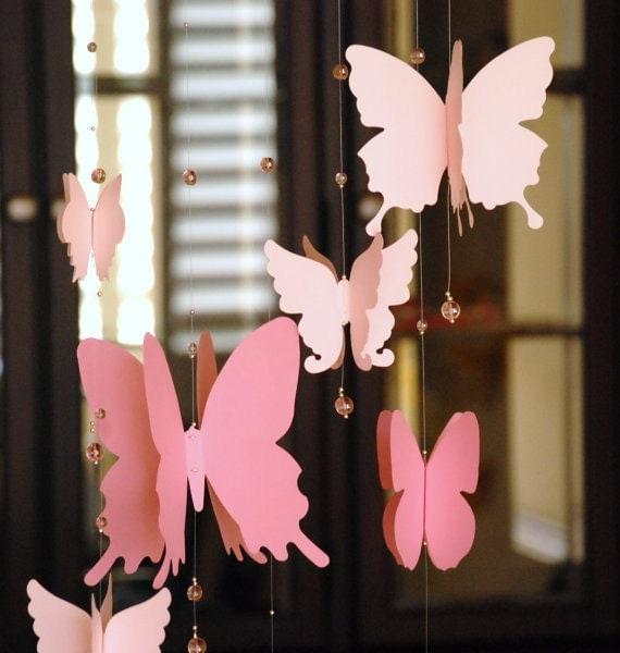 papier 3d papillon mobile b b chambre de b b d coration de. Black Bedroom Furniture Sets. Home Design Ideas