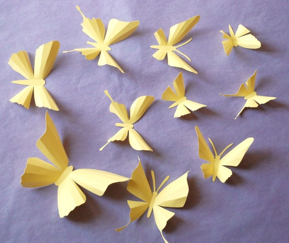3D paper butterfly sticker, wall sticker, baby nursery, room decoration, wedding decoration in light yellow color 10 pieces