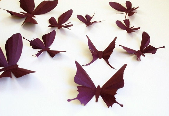 3D paper butterfly sticker, wall sticker, baby nursery, room decoration, wedding decoration 20 pieces