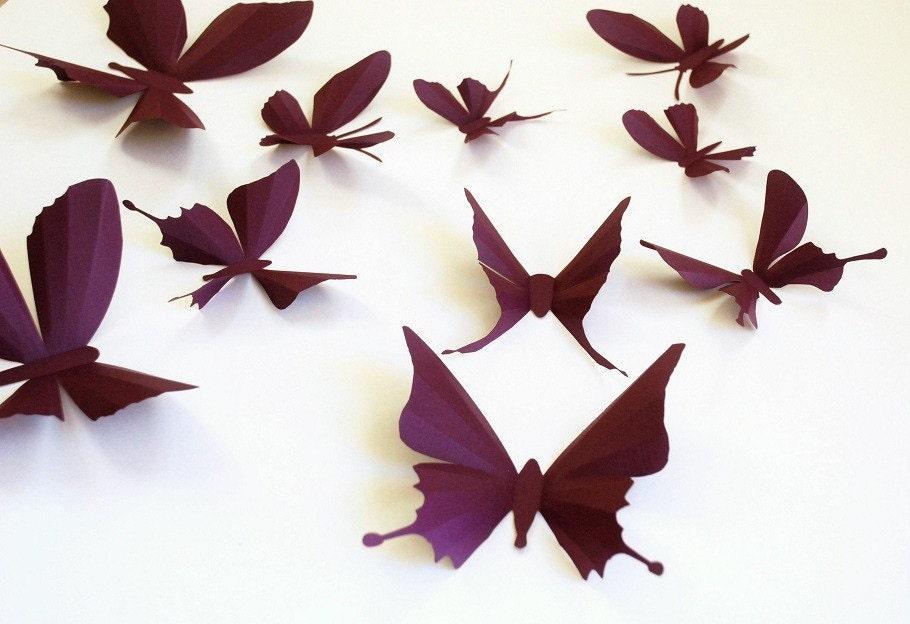 3D paper butterfly sticker wall sticker baby nursery by Janniecut