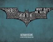Batman Begins Typography Poster