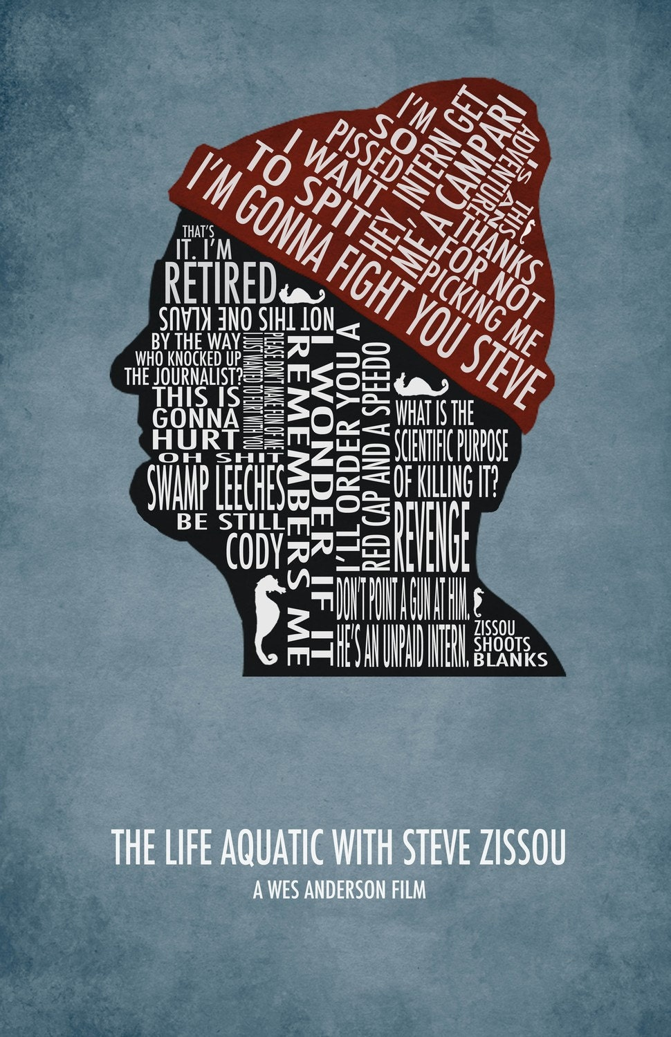 The Life Aquatic with Steve Zissou Typography Poster