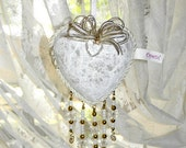 "White Valentine Heart Locket  - ""White Wedding Sharing Locket"" - White Valentine Ornament"