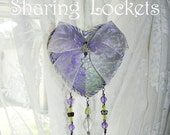 "Lavendar and Green Heart Shaped Keepsake Gift: ""Lilac Spring Sharing Locket"""