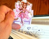 Fairy Dancing Pink and Purple -  Art Bookmark - Pixie Fairy Whims from Heart Locket Hollow Studio - by artist Christiane Marshall