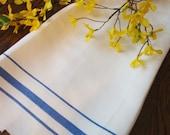 Linen Kitchen Towel Blue Stripes VIntage