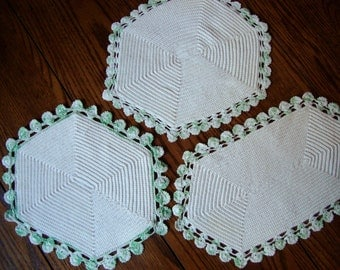 Doilies Hand Crocheted Set of Three Vintage Pastel Green Trim