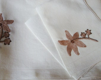 Linen Embroidered Tablecloth  with Napkins Brown Floral Design