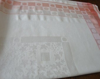 White Damask Tablecloth with Peach and Pink Border Vintage French Country
