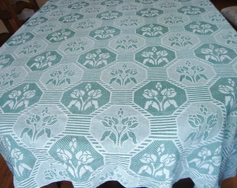 Tulip Tablecloth Green Knit Table Linens French Country Table Cover