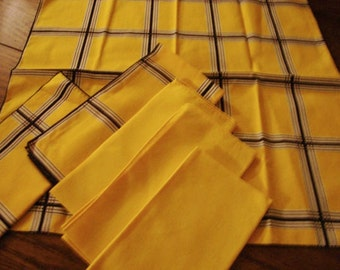 French Country Napkins Set of Six Gold and Black Vintage