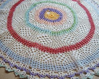 Crochet Lace Doily Colorful Centerpiece Doily Vintage Hand Crocheted