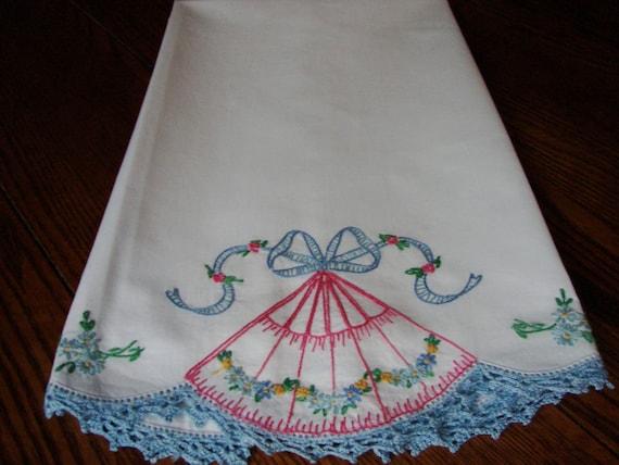Vintage Pillowcase Embroidery and Crochet Trim Handmade