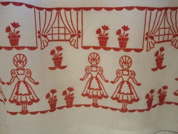 vintage kitchen curtains red and white by nettiescollectibles
