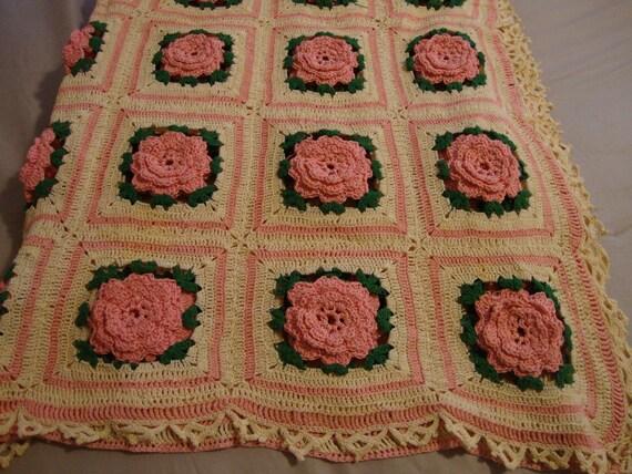 RESERVED for Susan Hand Crocheted Afghan Pink Roses Vintage
