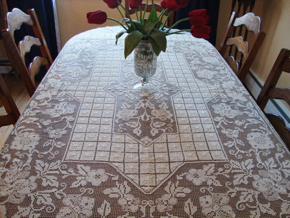 RESERVED for Deborah Antique French Lace Tablecloth