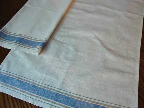 French Linen Towels Set of Two Blue Stripe Border Vintage
