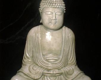 Small Buddha - Balinese Buddha _ Buddha Statue . Green - Mossy