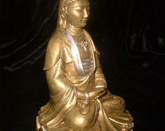 Quan Yin Buddha Statue Goddess of Compassion in Burnished Gold with Silver Embellishents