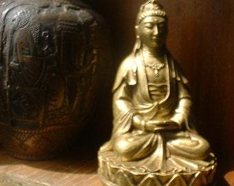Buddha Statue - Quan Yin - Kwan Yen - Female Buddha - Buddha Figurine - Goddess of Compassion - Gold Finish