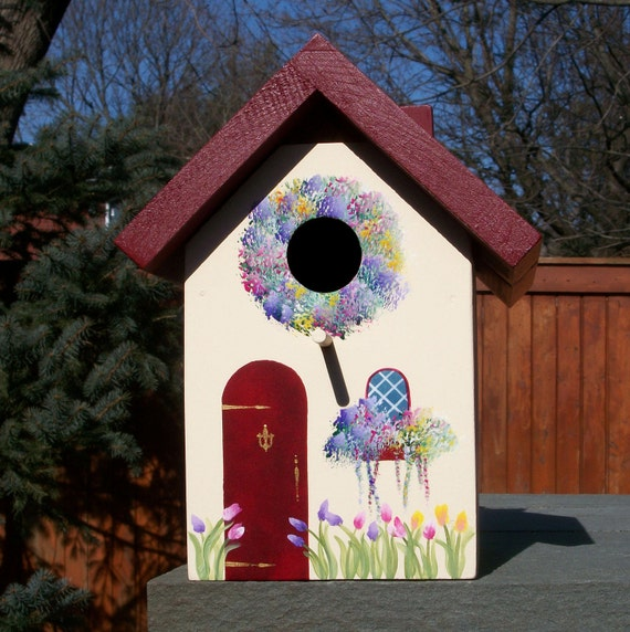 Burgundy Birdhouse Cottage with Tulips