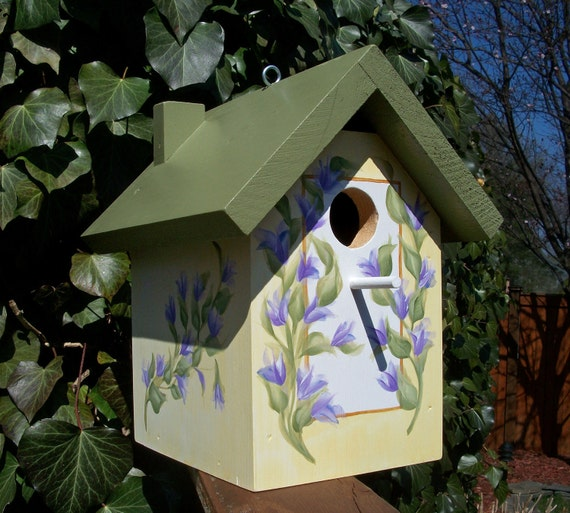 Hand Painted Sage & Pale Yellow Outdoor Birdhouse with Lavender Flower Vine