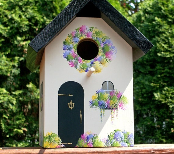 Country Cottage Bird House, Black Roof with Light Cream Sides