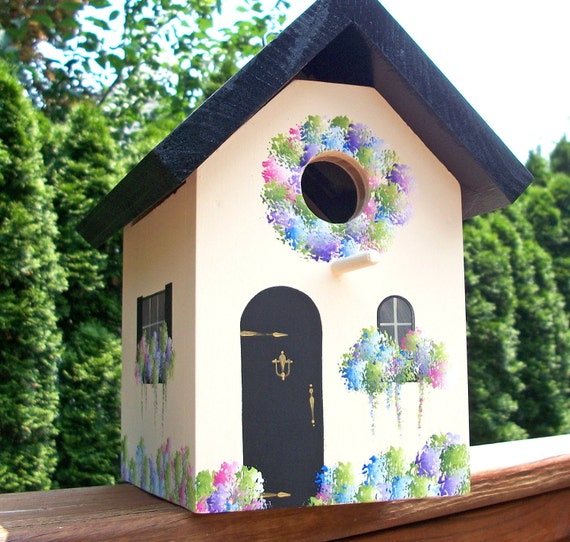 Cottage Birdhouse, Black Roof with Cream Sides