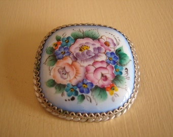 Russian Handpainted Silver Brooch-REDUCED PRICE