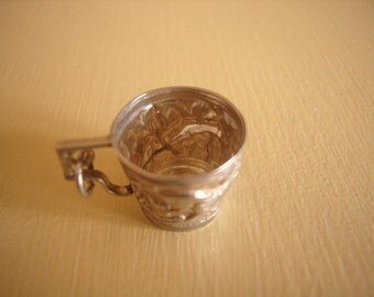 Vintage Silver Repousse Patterned Drinking Cup Charm